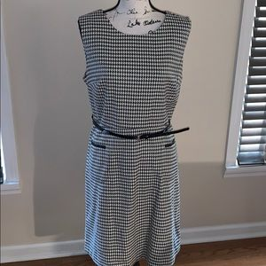 LIZ CLAIBORNE houndstooth dress black white 16